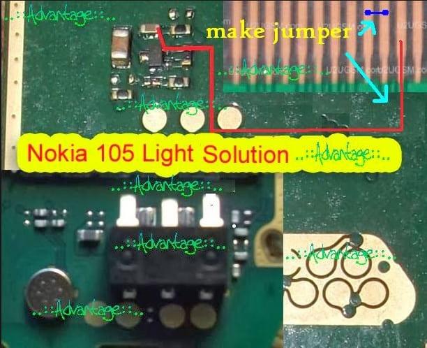 nokia 105 display light problem