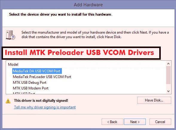 Mediatek USB Vcom Driver