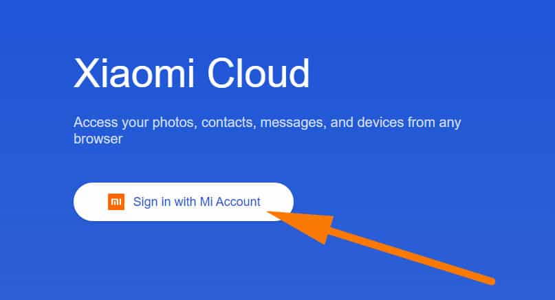 Enter the Xiaomi Cloud web
