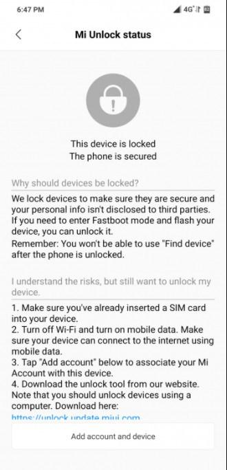 Mi Account unlock Status